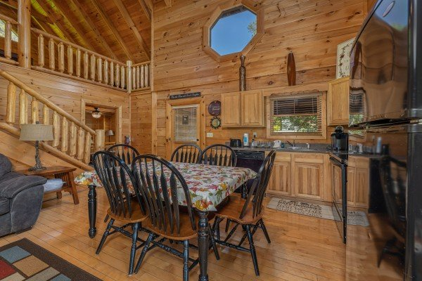 Dining table for six in the kitchen at Autumn Blessings, a 2 bedroom cabin rental located in Pigeon Forge