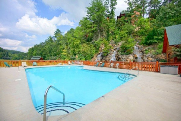 Outdoor pool for guests at Autumn Blessings, a 2 bedroom cabin rental located in Pigeon Forge