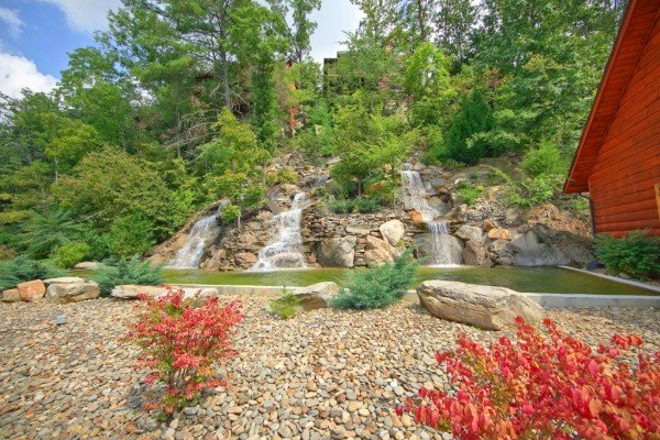 Resort water feature at Autumn Blessings, a 2 bedroom cabin rental located in Pigeon Forge