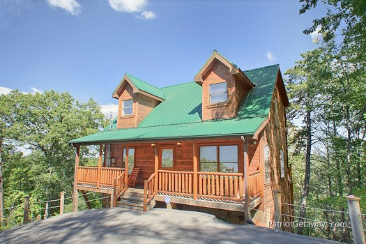 front exterior view at tranquility a 2 bedroom cabin rental located in gatlinburg