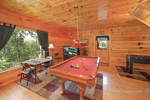 game room with pool table at tranquility a 2 bedroom cabin rental located in gatlinburg