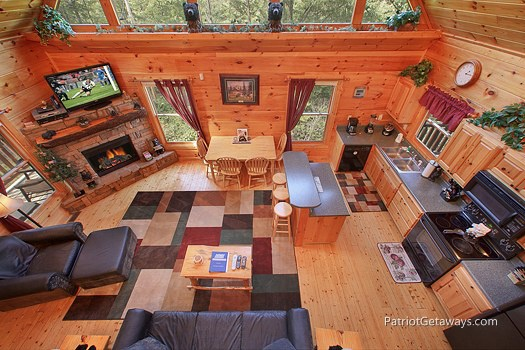 overhead view living area at tranquility a 2 bedroom cabin rental located in gatlinburg