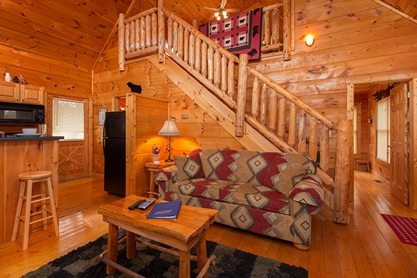 Living room with a sofa at Ivy Lodge, a 1 bedroom cabin rental located in Pigeon Forge