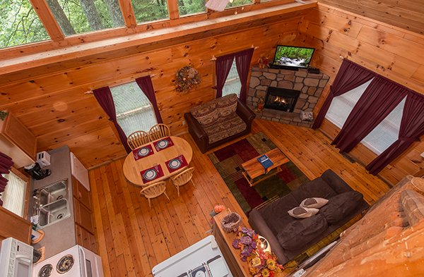 Main floor as seen from the loft at Fallin' in Love, a 1-bedroom cabin rental located in Gatlinburg