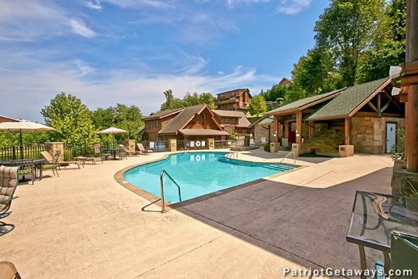 Outdoor pool access for guests at Hibernation Hideaway #745, a 2-bedroom Pigeon Forge cabin rental