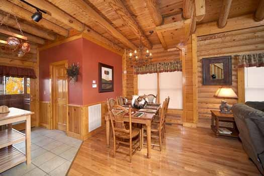 dining table at hibernation hideaway #745 a 2 bedroom cabin rental located in pigeon forge