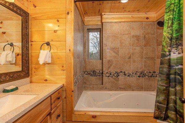 Shower and jacuzzi in a bathroom at Happy Bear's Hideaway, a 2 bedroom cabin rental located in Gatlinburg