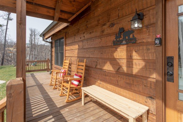 Front porch at Moonlight Inn Gatlinburg, a 2 bedroom cabin rental located in Gatlinburg