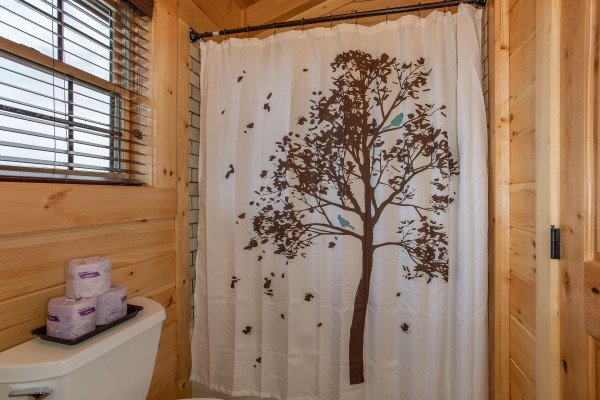 Loft bathroom at Moonlight Inn Gatlinburg, a 2 bedroom cabin rental located in Gatlinburg