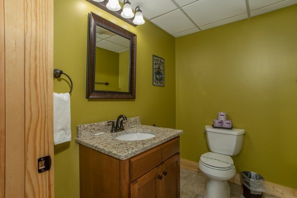 Lower level bathroom at Moonlight Inn Gatlinburg, a 2 bedroom cabin rental located in Gatlinburg