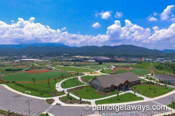 drone view of cal ripken experience near a pigeon forge retreat a 2 bedroom cabin rental located in pigeon forge