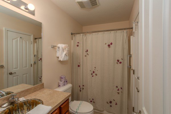 Bathroom at A Pigeon Forge Retreat, a 2 bedroom cabin rental located in Pigeon Forge