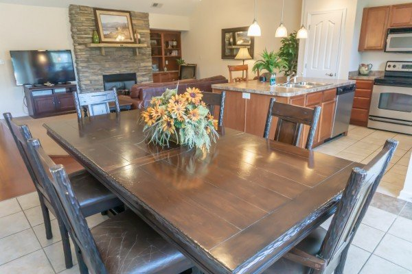 Dining table at A Pigeon Forge Retreat, a 2 bedroom cabin rental located in Pigeon Forge