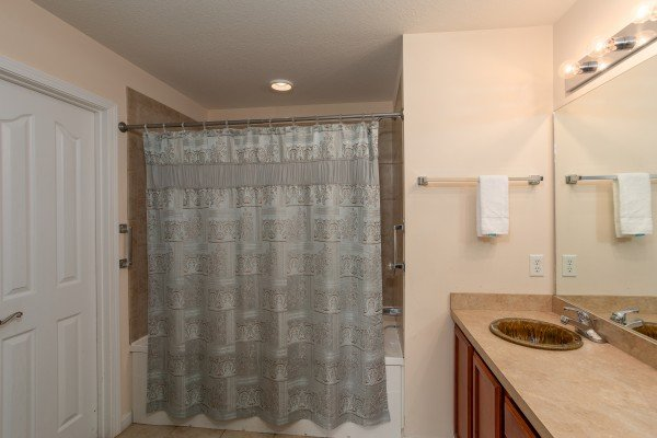 Second bathroom at A Pigeon Forge Retreat, a 2 bedroom cabin rental located in Pigeon Forge