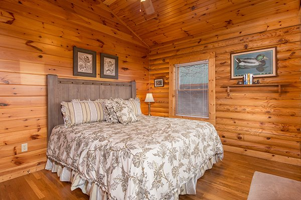 King bedroom at Lookout Ridge, a 2 bedroom cabin rental located in Pigeon Forge