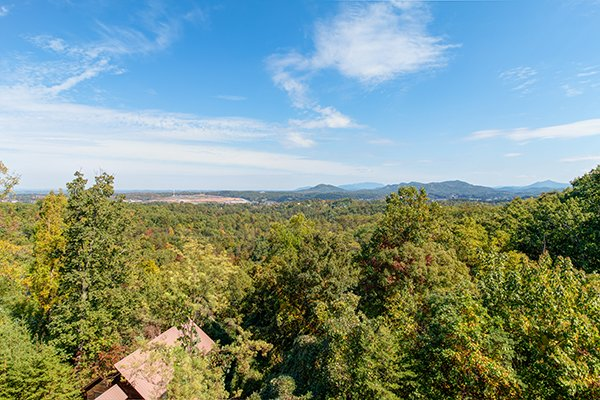Treetop views from Lookout Ridge, a 2 bedroom cabin rental located in Pigeon Forge