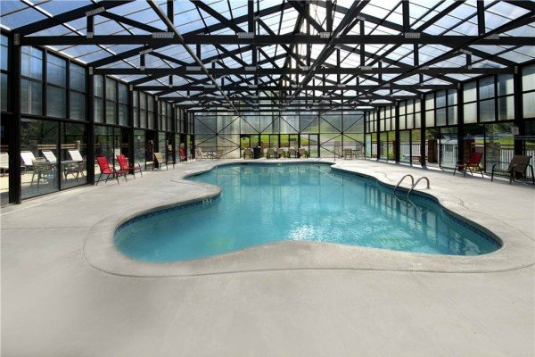 Pool access for guests at Shangri-lodge, an 8 bedroom cabin rental located in Pigeon Forge