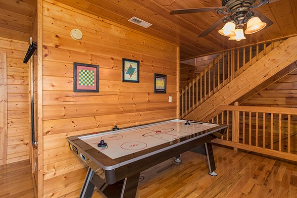 Air hockey table at Shangri-lodge, an 8 bedroom cabin rental located in Pigeon Forge