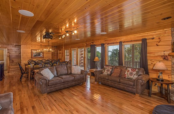 Two sofas in the main living room at Shangri-lodge, an 8 bedroom cabin rental located in Pigeon Forge
