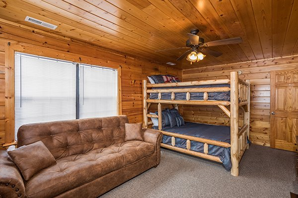 Sleeper sofa in the bunk room at Shangri-lodge, an 8 bedroom cabin rental located in Pigeon Forge