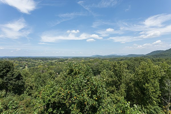 Looking out on the treetops and mountains at Shangri-lodge, an 8 bedroom cabin rental located in Pigeon Forge