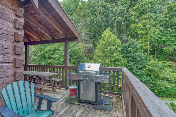 Grill on the deck at Mountain Music, a 5 bedroom cabin rental located in Pigeon Forge
