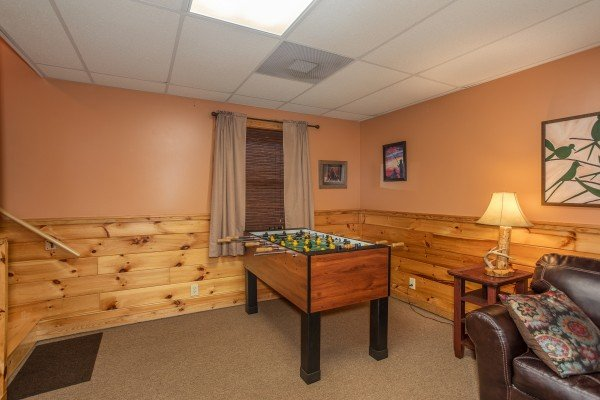 Foosball table in the game room at Granny D's, a 2 bedroom cabin rental located in Pigeon Forge