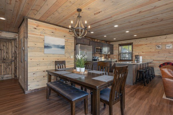 Dining table for six at Heaven's Hill, a 3 bedroom cabin rental located in Gatlinburg