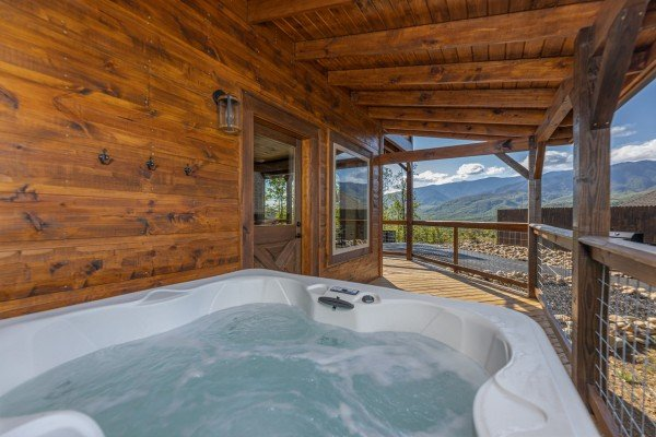 Hot tub and mountain view at Heaven's Hill, a 3 bedroom cabin rental located in Gatlinburg