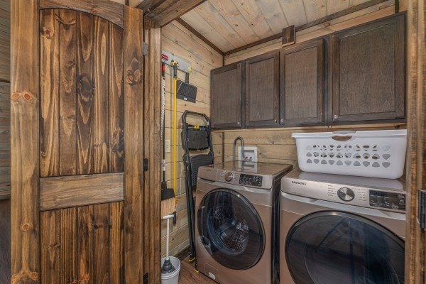 Laundry closet at Heaven's Hill, a 3 bedroom cabin rental located in Gatlinburg