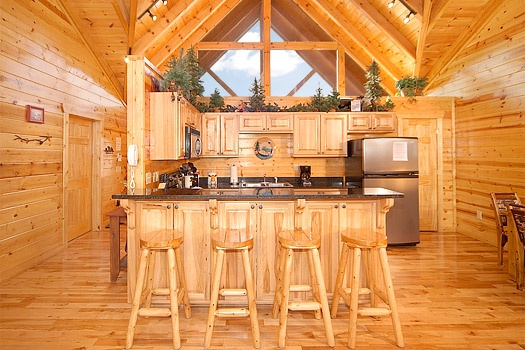 Breakfast bar at Moose Mountain Lodge, a 4 bedroom cabin rental located in Gatlinburg