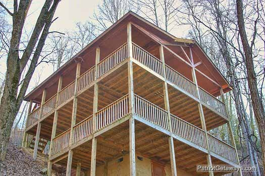 Exterior back lower view at Paradise Found, a 1 bedroom cabin rental located in Gatlinburg