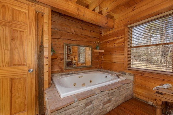 Jacuzzi tub at Smoky Bears Creek, a 2 bedroom cabin rental located in Pigeon Forge