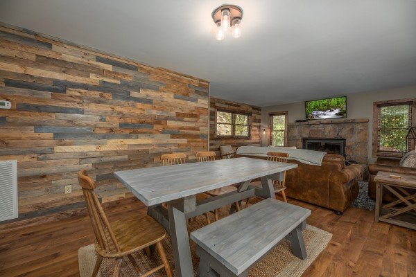 Dining table for six at Rustic Retreat at Shagbark, a 2 bedroom cabin rental located in Pigeon Forge