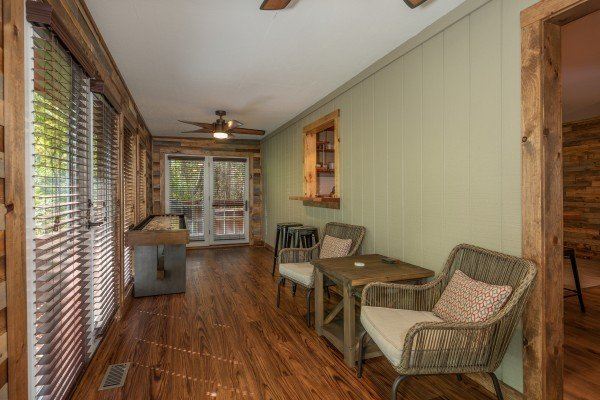 Sun porch at Rustic Retreat at Shagbark, a 2 bedroom cabin rental located in Pigeon Forge
