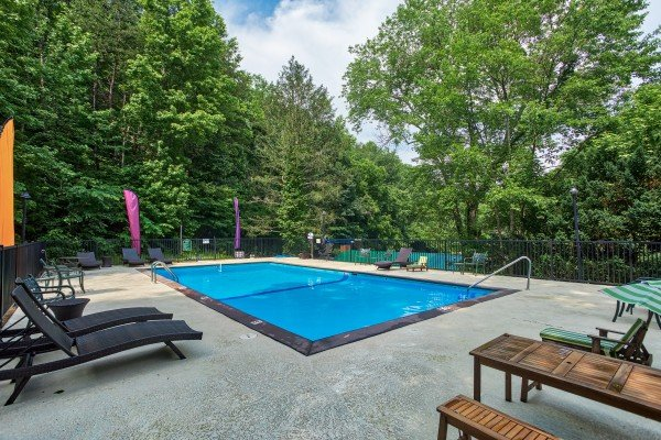 Pool access for guests at Rustic Retreat at Shagbark, a 2 bedroom cabin rental located in Pigeon Forge