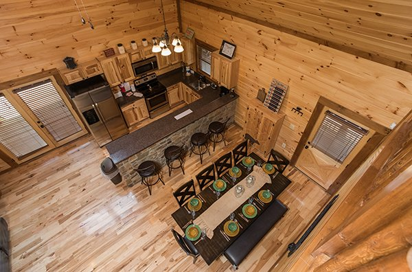 overhead view of dining space with seating for 13 at amazing grace a 3 bedroom cabin rental located in pigeon forge
