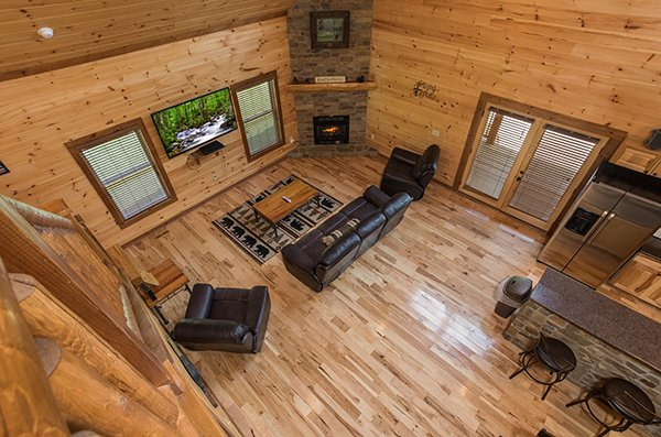 overhead living room view at amazing grace a 3 bedroom cabin rental located in pigeon forge
