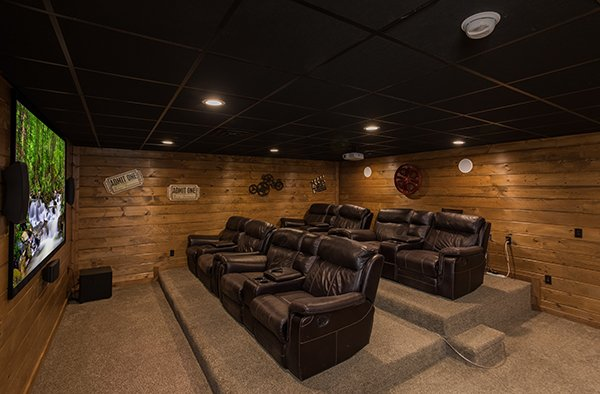 theater room with large recliners at amazing grace a 3 bedroom cabin rental located in pigeon forge