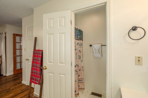 Bathroom access at Hillside Hideaway, a 1 bedroom cabin rental located in Pigeon Forge
