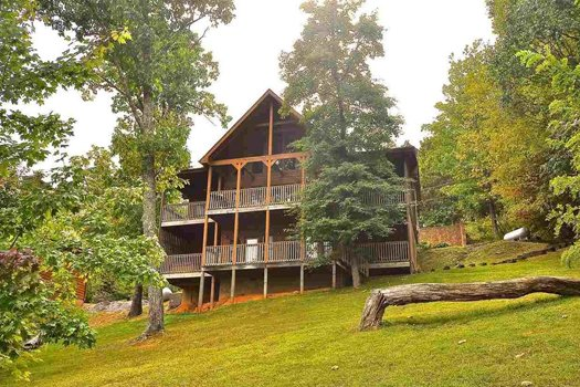 Looking back and up at the cabin at Valley View Lodge, a 3 bedroom cabin rental located in Pigeon Forge