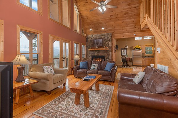 Fireplace in the living room at Valley View Lodge, a 3 bedroom cabin rental located in Pigeon Forge