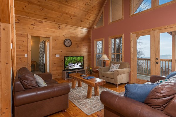 Television in the living room at Valley View Lodge, a 3 bedroom cabin rental located in Pigeon Forge