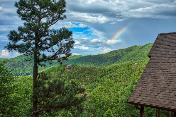 Mountain and rainbow view at Valley View Lodge, a 3 bedroom cabin rental located in Pigeon Forge