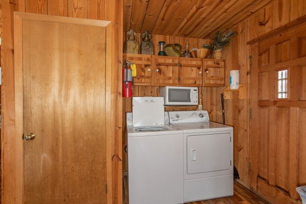 Laundry space and a microwave at Papa Bear, a 3 bedroom cabin in Pigeon Forge