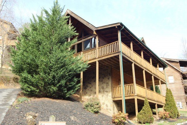 Cabin exterior at Mountain Harvest, a 3 bedroom cabin rental located in Pigeon Forge
