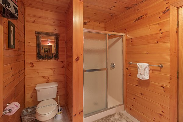 Bathroom with a walk in shower at Mountain Harvest, a 3 bedroom cabin rental located in Pigeon Forge