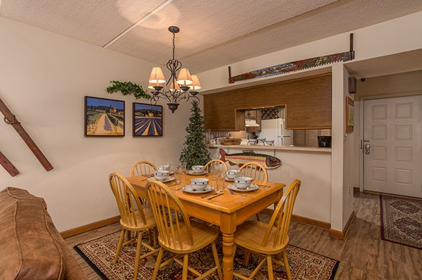 Dining space for six at High Alpine #204, a 2 bedroom cabin rental located in Gatlinburg