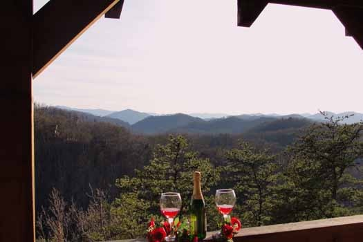 Champagne view at Sunset Vista View, a 1 bedroom cabin rental located in Pigeon Forge