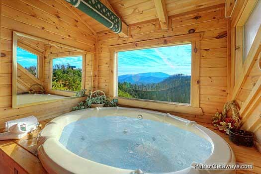 Jacuzzi tub in loft at Sunset Vista View, a 1 bedroom cabin rental located in Pigeon Forge